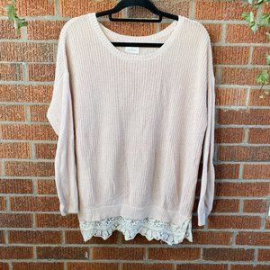 Pins and Needles Blush Pink Sweater Tunic Lace S